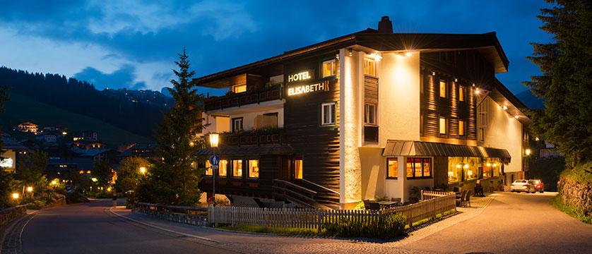 Chalet Hotel Elisabeth, Lech, Austria - exterior at night.jpg